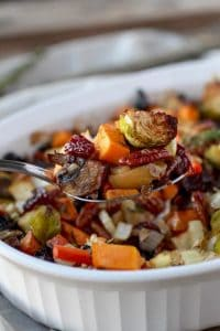Sweet potato unstuffing with brussel sprouts and pecans