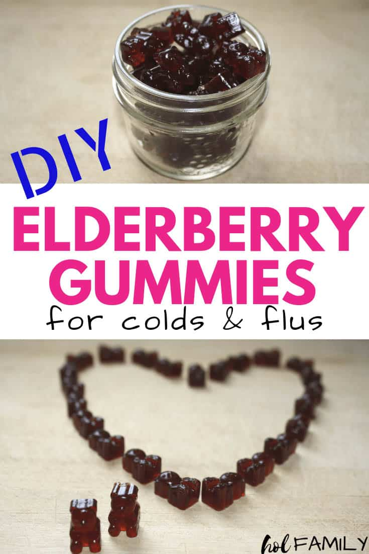 Homemade elderberry gummy bears in a glass jar for colds and flus