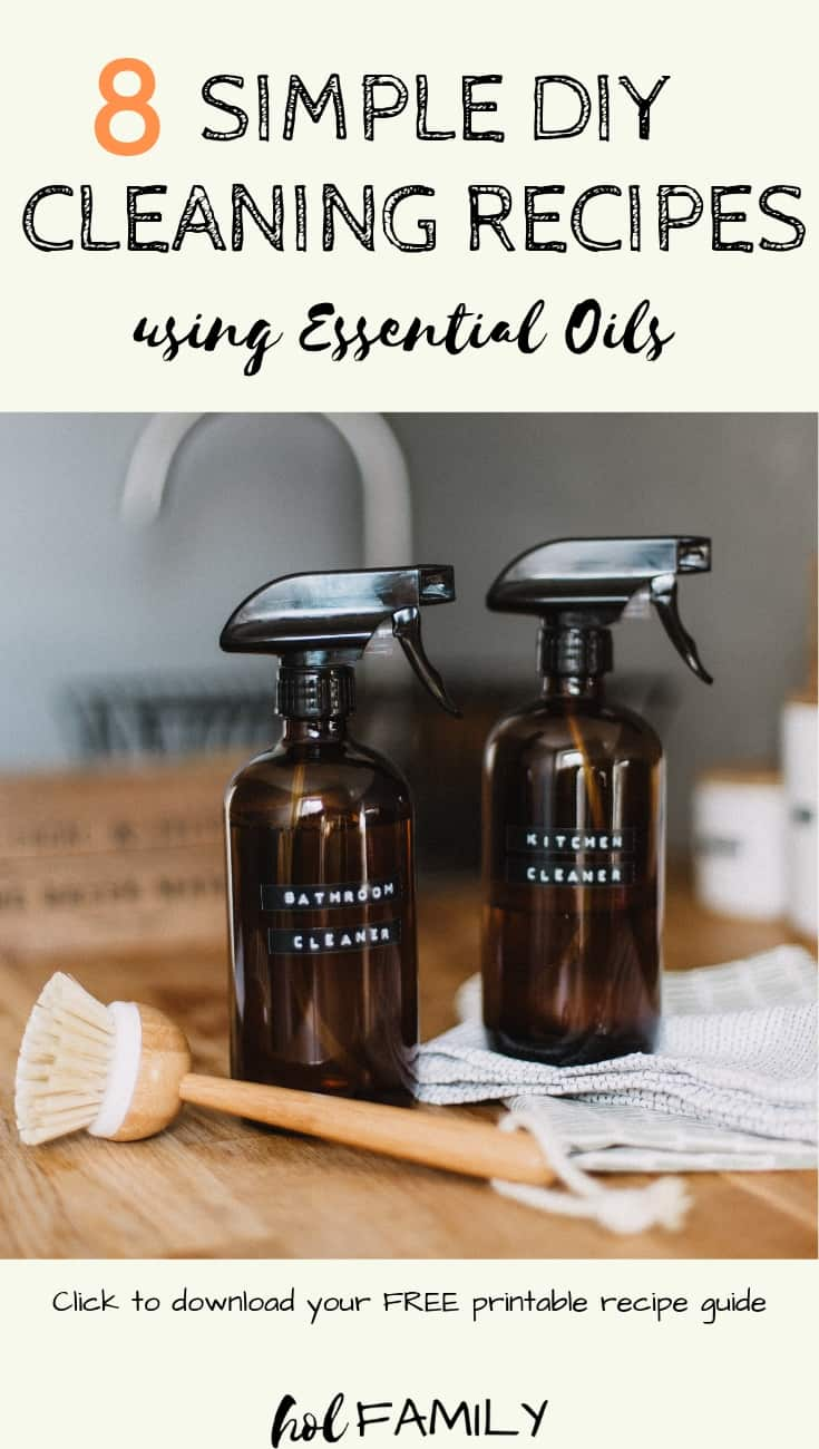Are you looking for some easy and affordable homemade cleaning recipes that are free from harsh chemicals and toxic ingredients? These 8 simple DIY cleaning recipes use natural ingredients that you can find around your house and pure essential oils to give your home the fresh and clean look and smell you crave. #cleaning #cleaningtips #cleaninghacks #essentialoils #naturalcleaning #diy